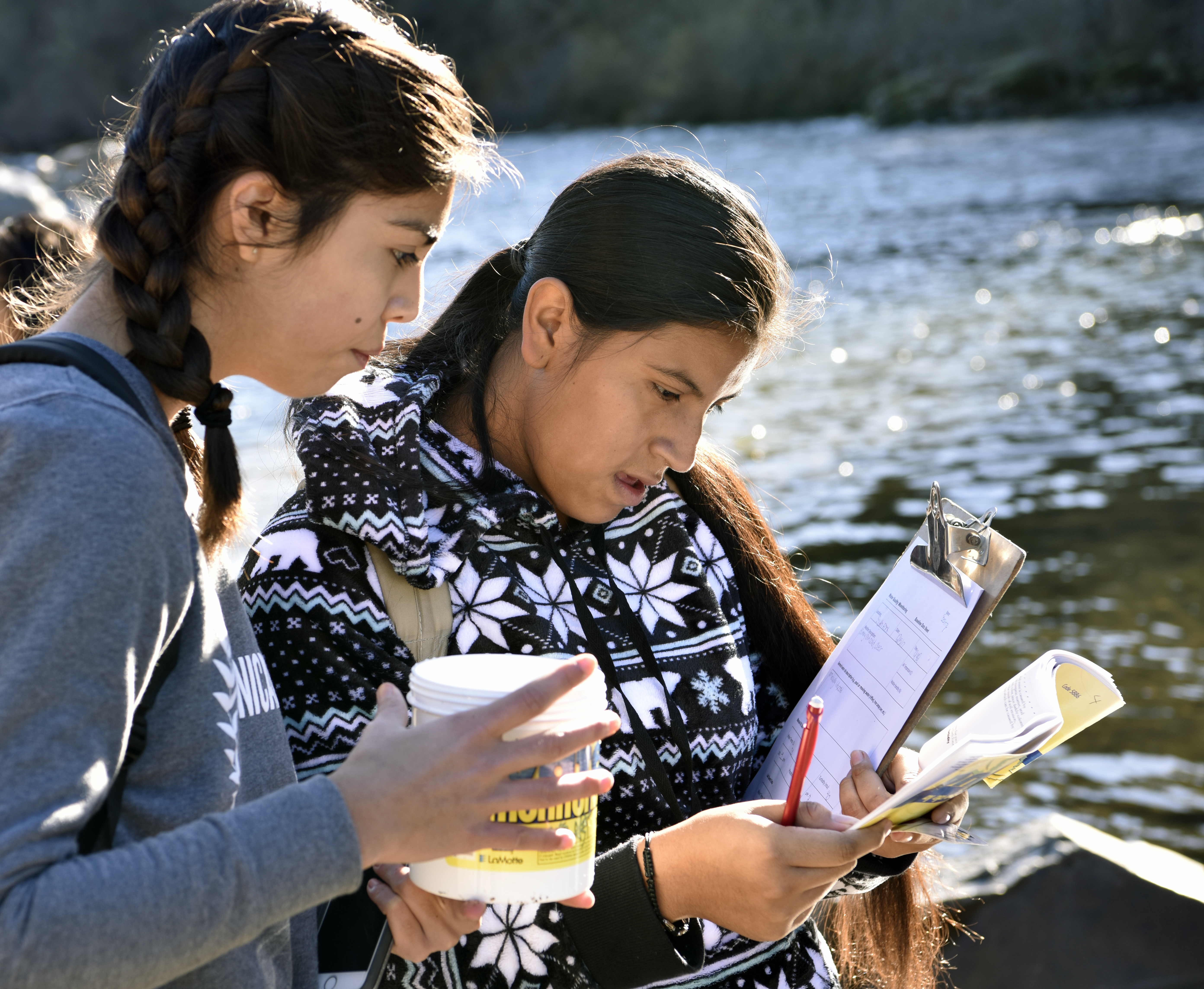 Union Mine High School students conduct water sampling at Greenwood Creek River Access on December 5, 2017