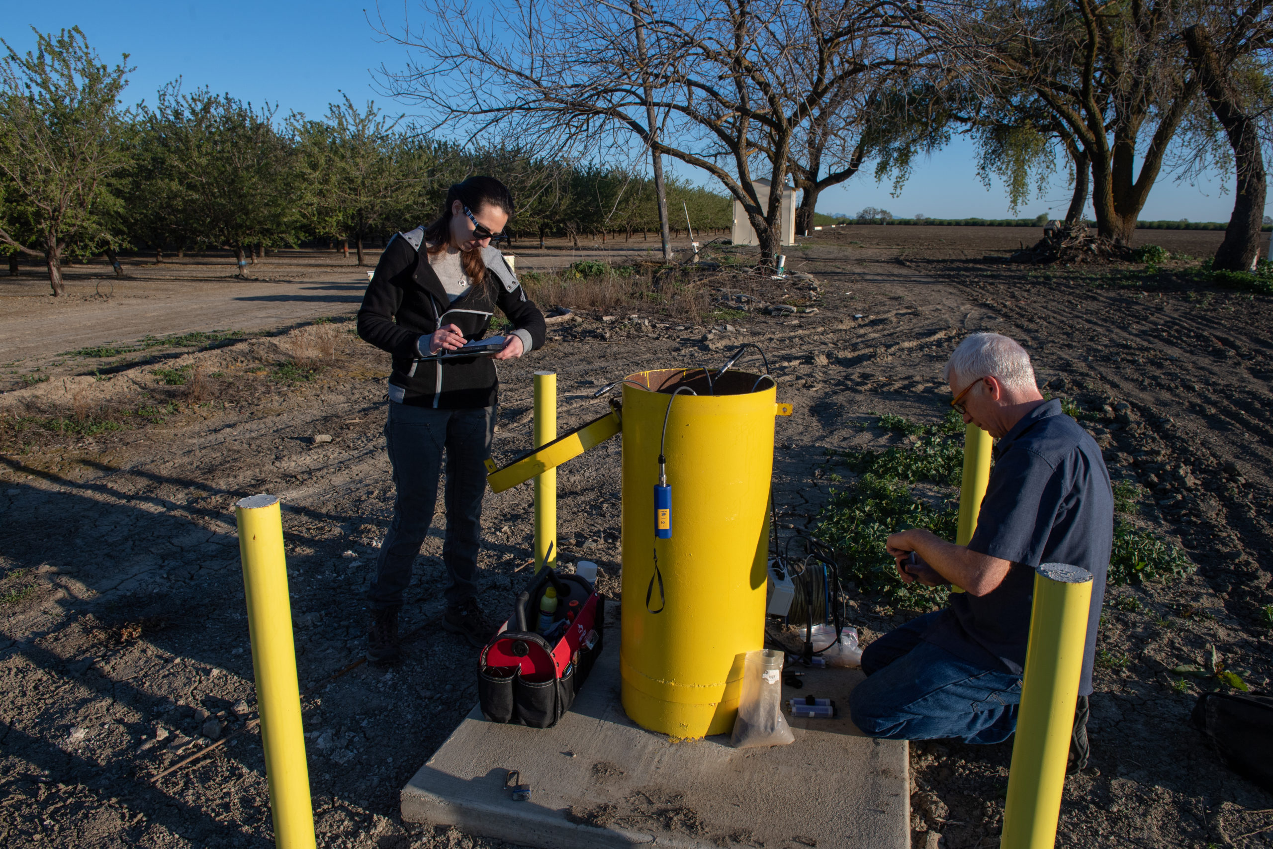 Groundwater level monitoring. Photo by Kelly M. Grow / California Department of Water Resources.