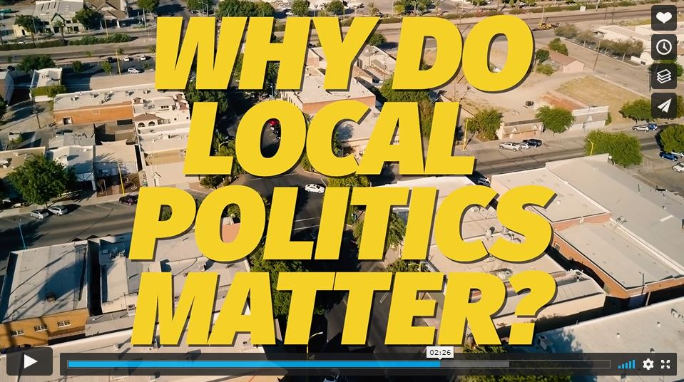 """Screenshot from Central Valley Partnership nonpartisan training video, which says """"Why Do Local Politics Matter?"""""""